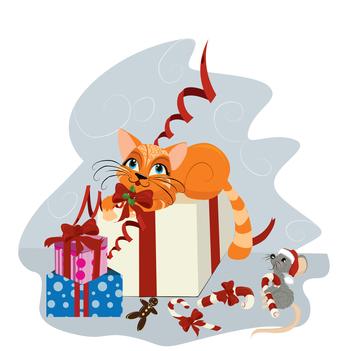 Un ratón y un gato en Navidad
